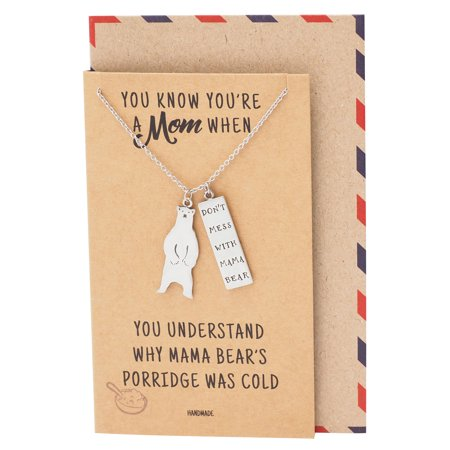 Mother Necklace with Mama Bear Pendant, Perfect Gift for Mother's Day with Inspirational Greeting