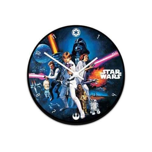 "99089 Star Wars 13.5"" Cordless Wood Wall Clock, Multicolor, Features Star Wars By Vandor"