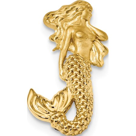 Leslies Fine Jewelry Designer 14K Yellow Gold Polished and Satin Diamond-cut Mermaid Chain Slide Pendant Gift