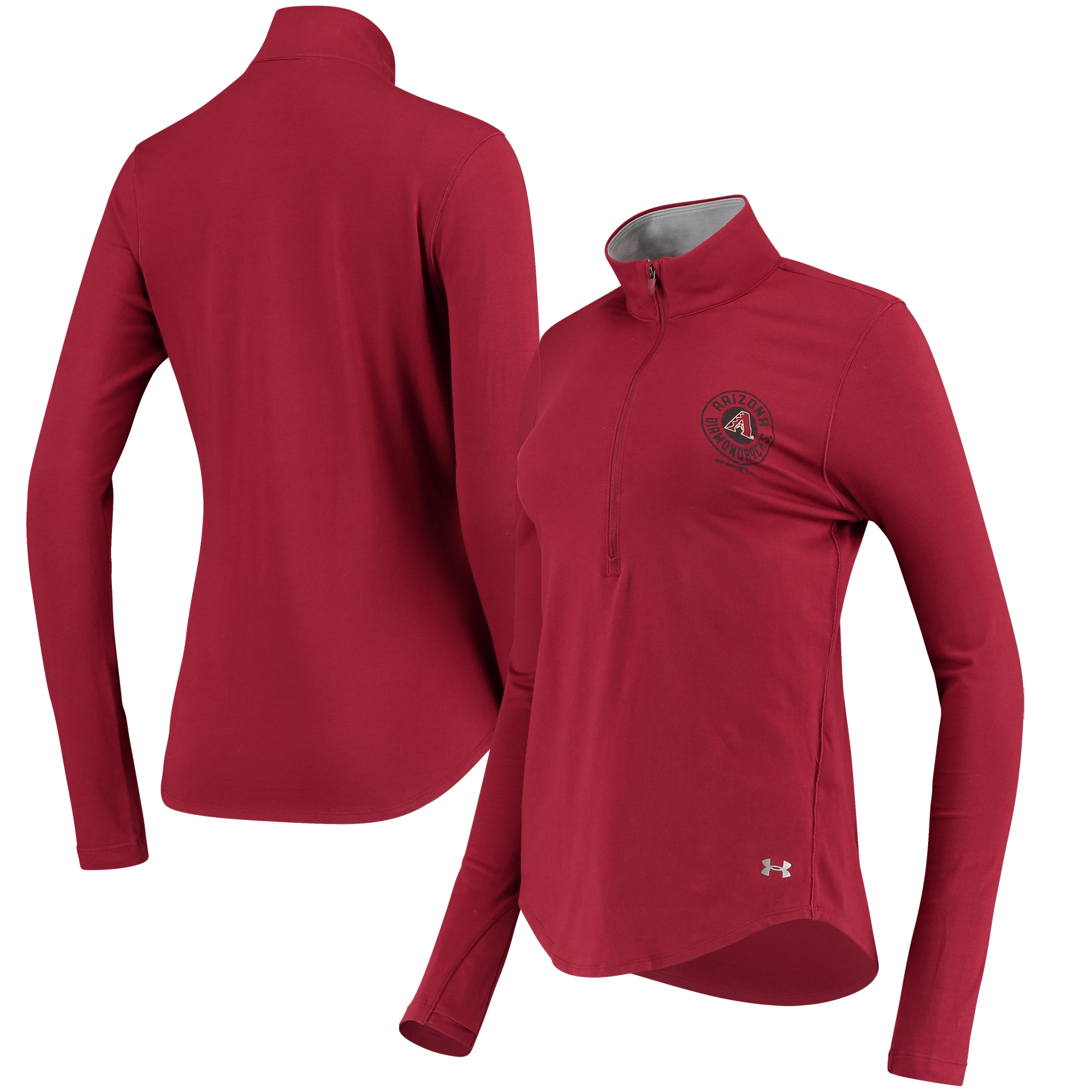 Arizona Diamondbacks Under Armour Women's Charged Cotton Half-Zip Pullover Jacket - Cardinal