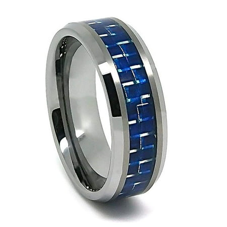 8mm Tungsten Carbide Blue Carbon Fiber Wedding Ring Sizes Available 4-22