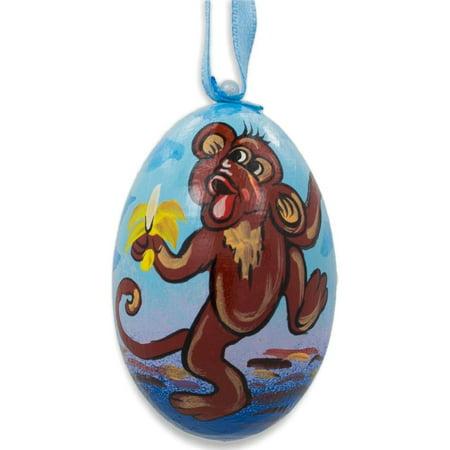 Monkey Eating Banana Animal Wooden Christmas Ornament 3 Inches](Sock Monkey Ornament)