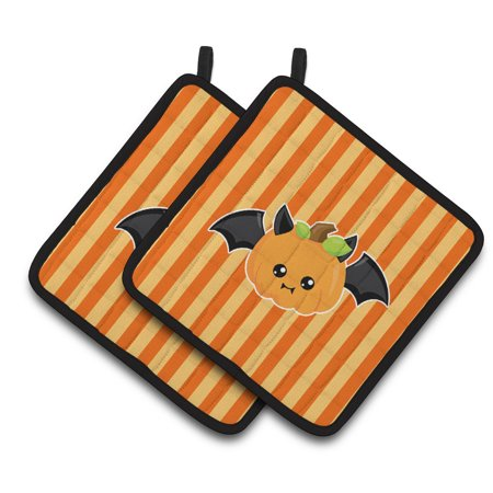 Caroline's Treasures Halloween Pumpkin Bat Pair of Pot Holders - Halloween 9 Plot