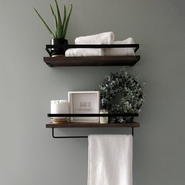 2 Set Multi Use Rustic Wooden Floating, Wood Shelves Bathroom