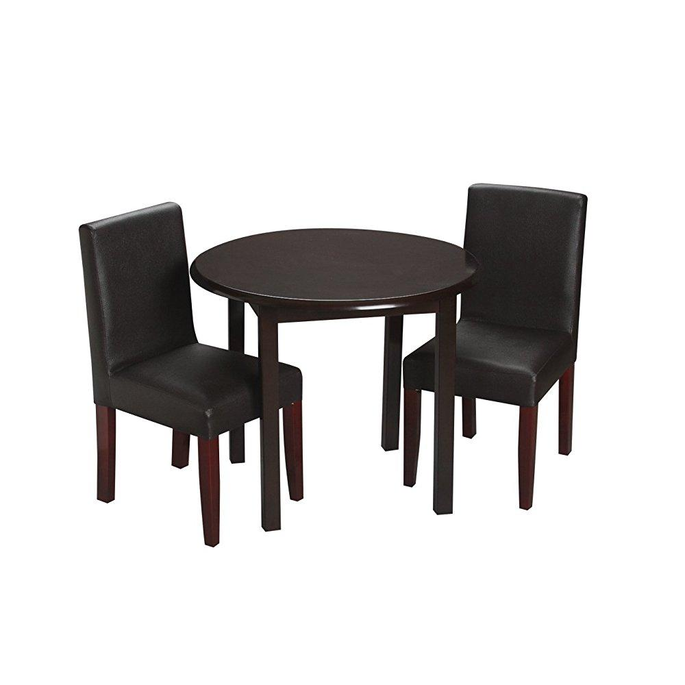 Childrenu0027s Round Table With 2 Upholstered Chairs Chair:Espresso,Table :Espresso