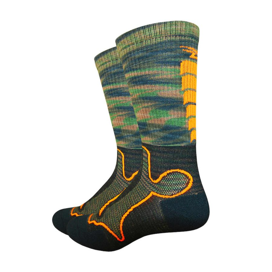 "Defeet, Levitator Trail 6"", Socks, Camo/Hi-Vis Orange, M"