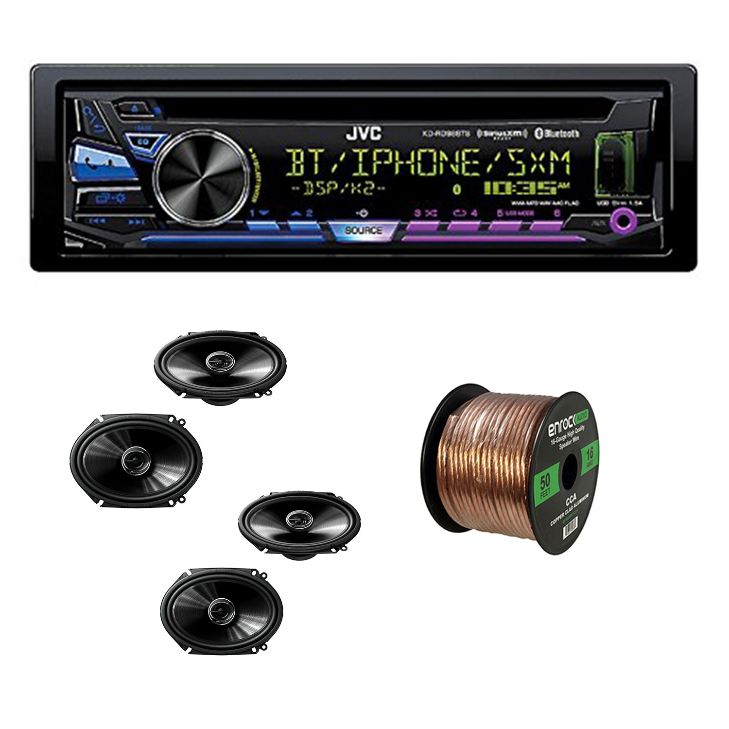 "JVC KD-RD88BT Single DIN CD Receiver With Bluetooth, USB/Aux Input With Pioneer TS-G6845R 250 Watt 6 x 8"" 2-Way Coaxial Car Audio Speakers (2-Pairs) & Enrock Audio 16-Gauge 50 Foot Speaker Wire"