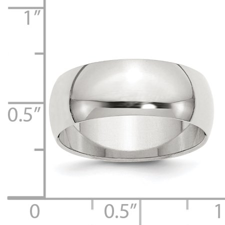 925 Sterling Silver 8mm Half Round Wedding Ring Band Size 9.50 Classic Domed Fine Jewelry Gifts For Women For Her - image 2 of 6