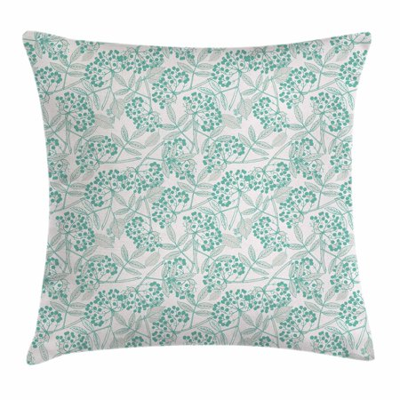 Fall Accents (Teal Throw Pillow Cushion Cover, Classic Botanical Pattern with Creeper Leaves and Berries Autumn Fall Nature Theme, Decorative Square Accent Pillow Case, 24 X 24 Inches, Tan Turquoise, by Ambesonne )