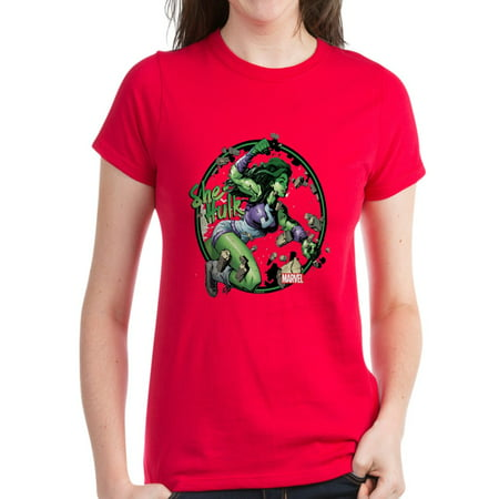 CafePress - She Hulk Punching T Shirt - Women's Dark T-Shirt