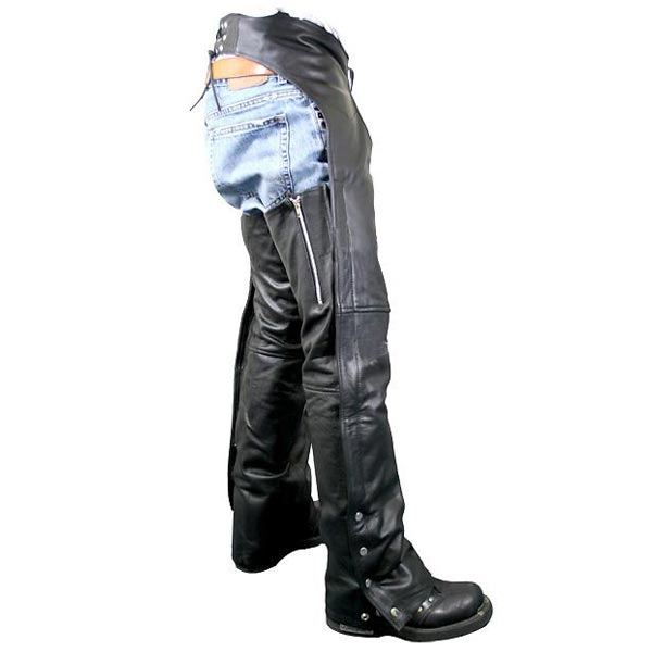 Xelement B7552 Mens Black Easy Fit Premium Motorcycle Chaps