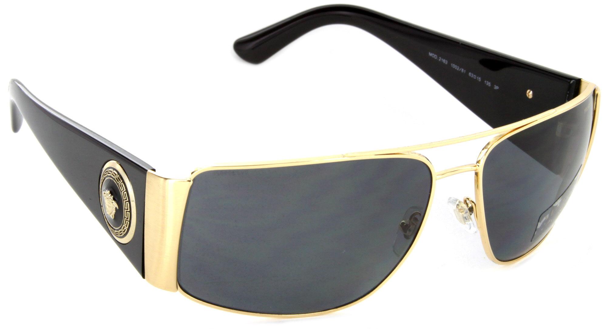 de863d846cf Versace - Versace Mens Sunglasses (VE2163) Gold Grey Metal - Polarized -  63mm - Walmart.com
