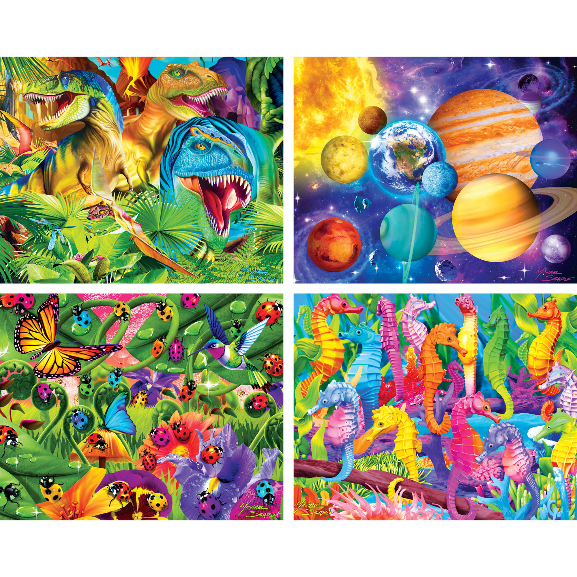 4-pack Glow in the Dark Multipack 100 Piece Puzzles by MasterPieces Puzzle Company