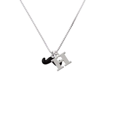 Silvertone Small Black Enamel Mustache - H - Initial Necklace