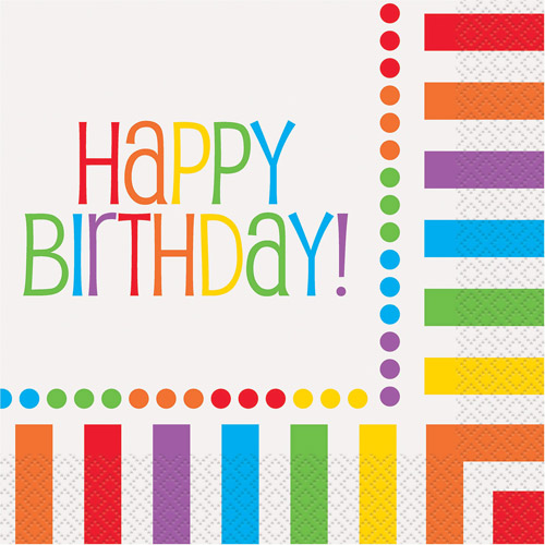 """Happy Birthday"" Party Lunch Napkins, Rainbow, 16ct"