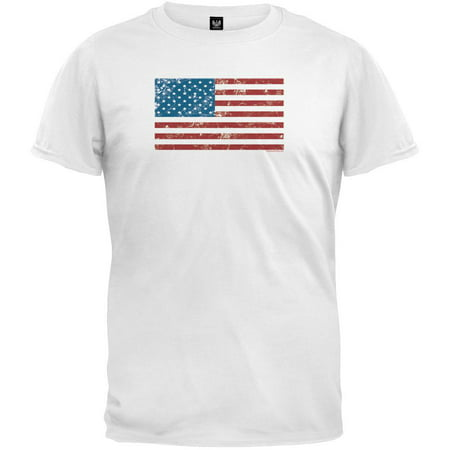 fac253ba1 4th of July - Distressed American Flag White T-Shirt - Walmart.com