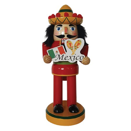 Mexican Man in Sombrero with Mexico Sign Wooden Christmas Nutcracker 10 inch New for $<!---->