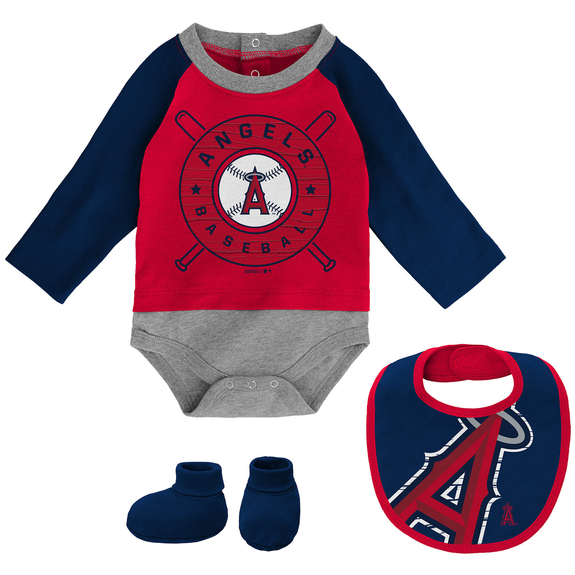 Boston Red Sox Outfit Set Bodysuit Bib Booties Blue