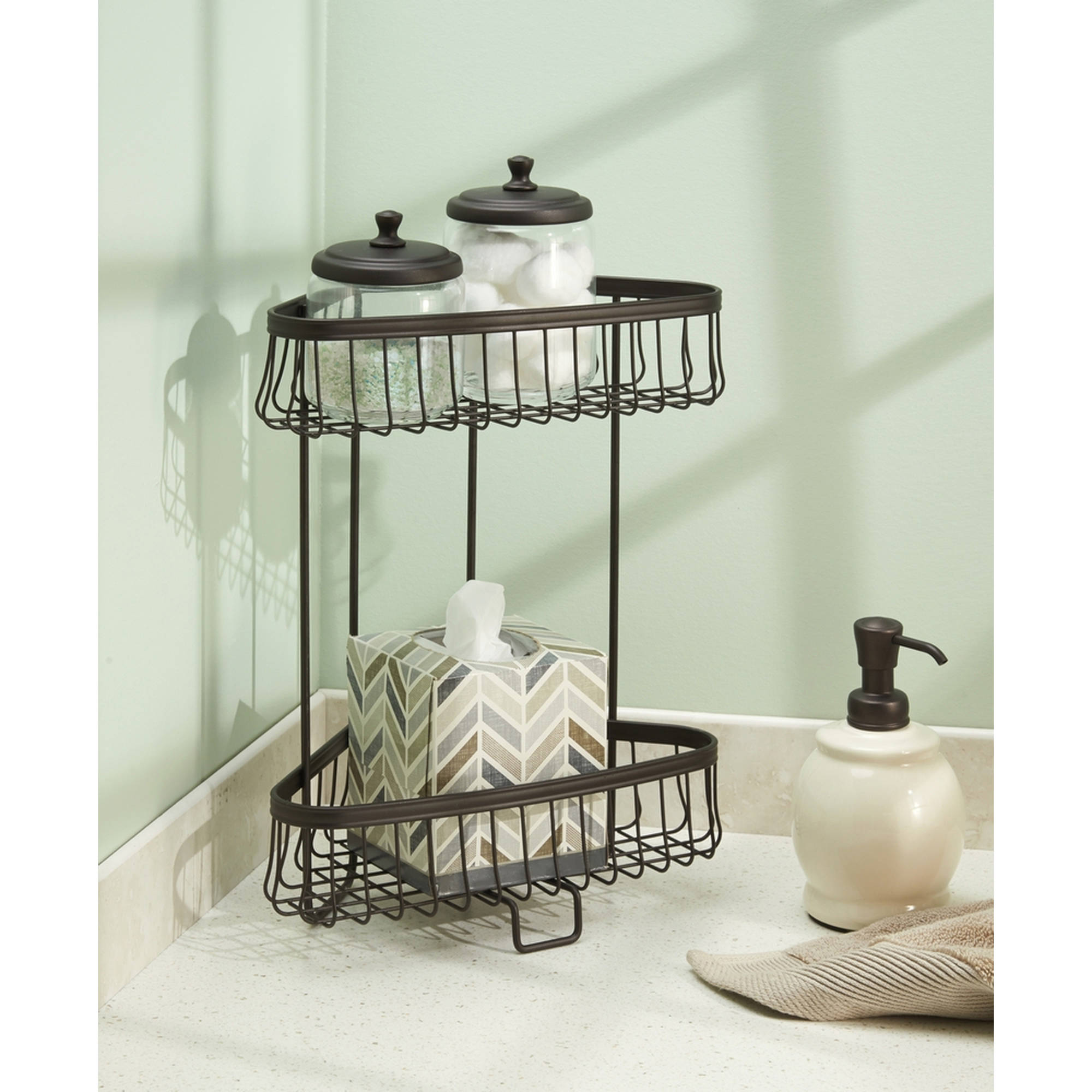 InterDesign York Lyra Free Standing Bathroom or Shower Corner Storage Shelves, 2 Tier