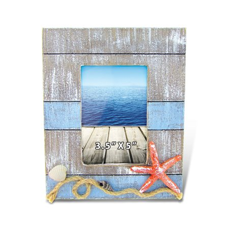 Puzzled Pacific Distressed Wooden Picture Frame with Starfish Seashells & Rope, 3.5 X 5 Inch Rustic Photo Holder Intricate Wood Art Handcrafted Tabletop Accessory Nautical Themed Home Accent D?cor ()