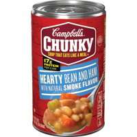 (4 pack) Campbell's Chunky Soup, Hearty Bean and Ham with Natural Smoke Flavor Soup, 19 Ounce Can