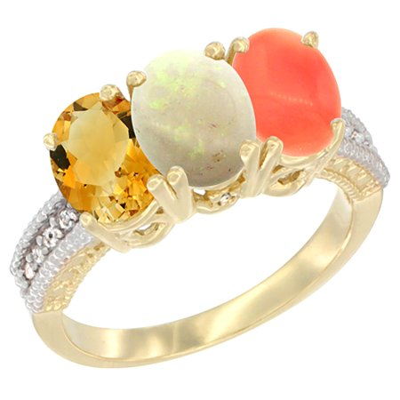 14K Yellow Gold Natural Citrine, Opal & Coral Ring 3-Stone 7x5 mm Oval Diamond Accent, sizes 5 - 10