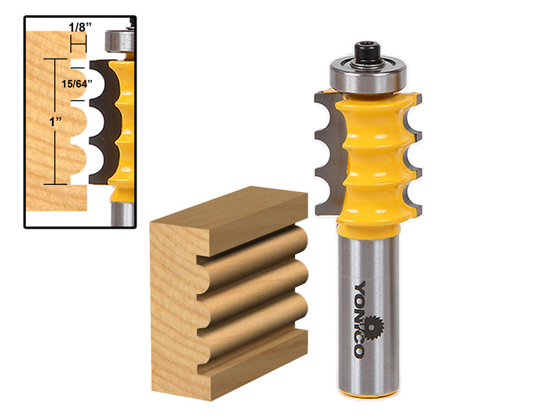 Triple Bead  Column Molding Router Bit 16159 by Yonico