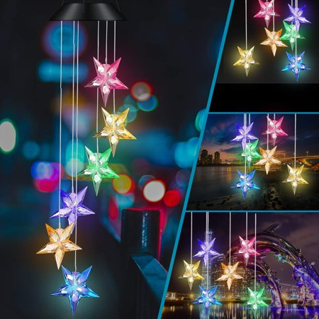 EEEKit Color Changing Wind Chime, Blue Star LED Wind Chime Wind Mobile Solar Powered Star LED Wind Chime Waterproof Outdoor Romantic Wind Bell Light for Patio Yard Garden Home Balcony (Star) ()