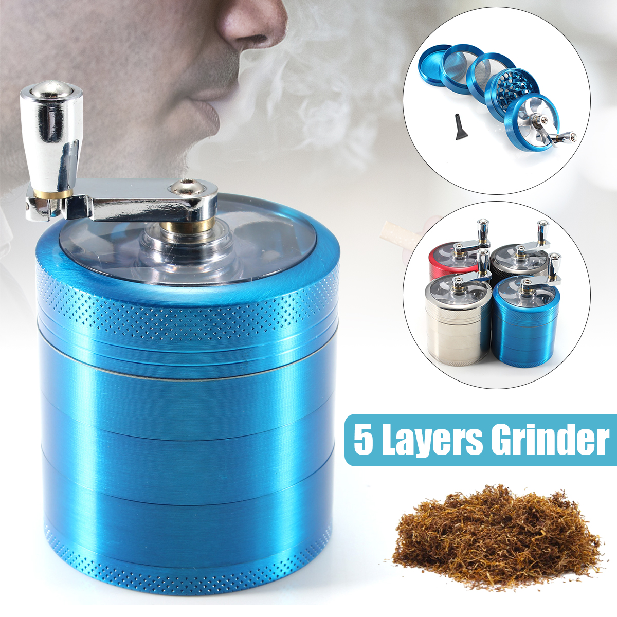 "2.2"" 5 Layers Alloy Spice Herb Grinder Hand Crank Muller Crusher For Herbs Food Spices Tea Tobacco (4 Colors)"