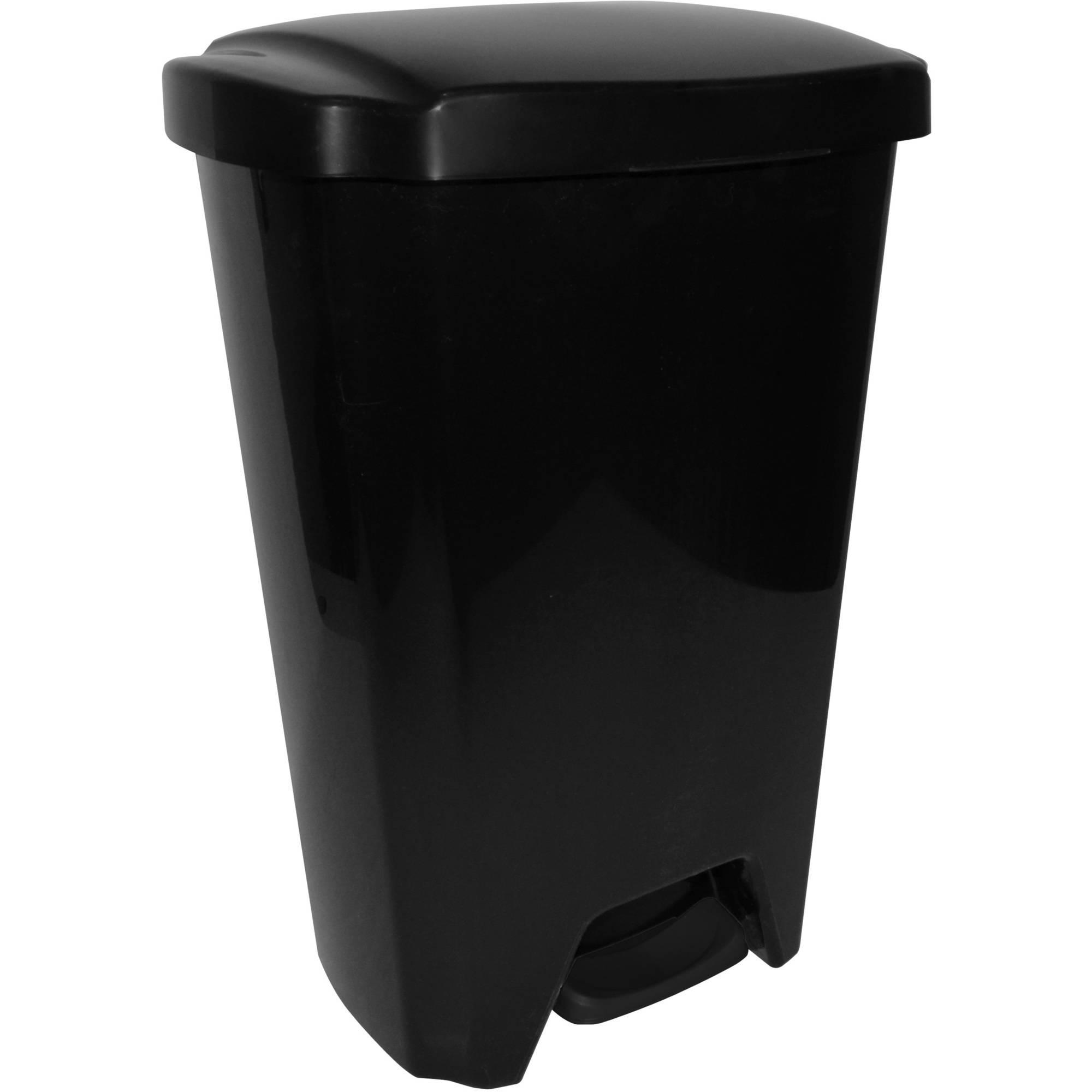 Hefty 13-Gallon Step-On Trash Can, Black