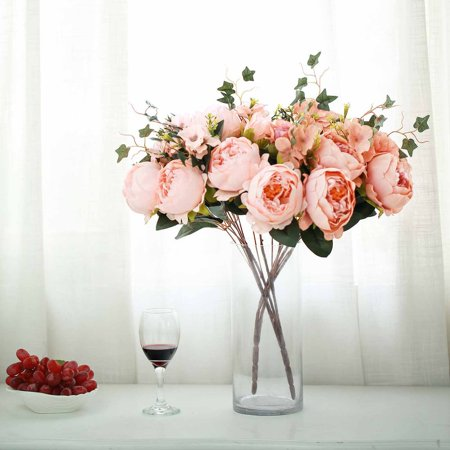 Efavormart 2 Bushes Peony, Rose Bud And Hydrangea Artificial Silk Flower Wedding - Hydrangea Wedding Decorations
