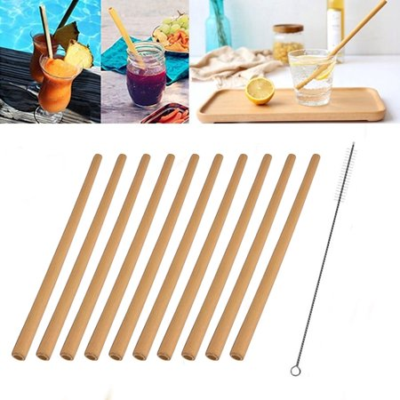HiCoup 2/10Pcs Reusable Bamboo Drinking Straw Party Birthday Decor with Cleaning (Bamboo Drinking Straws)