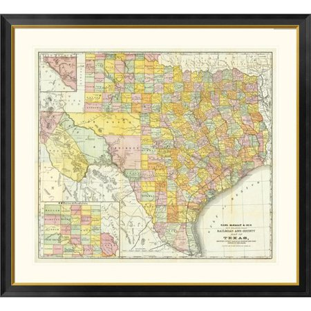 Global Gallery Railroad And County Map of Texas, 1882 Framed
