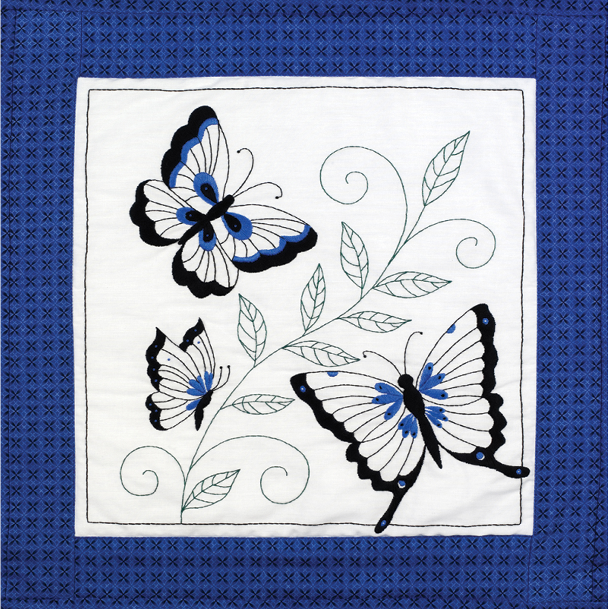 "Janlynn Stamped For Embroidery Quilt Blocks 18""X18"" 6/Pkg-Butterfly"