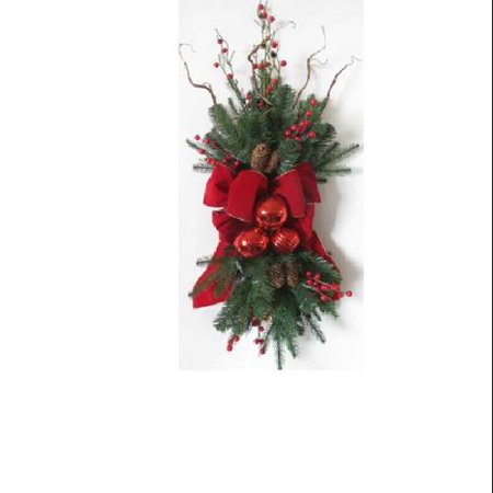 34 Pre-Decorated Red Ribbon, Ornaments and Berries Artificial Christmas Stair Swag- Unlit Free Red Ribbon Ornament