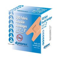Dynarex Adhesive Fabric Knuckle Bandage 1.5 Inx3 In-100/Box