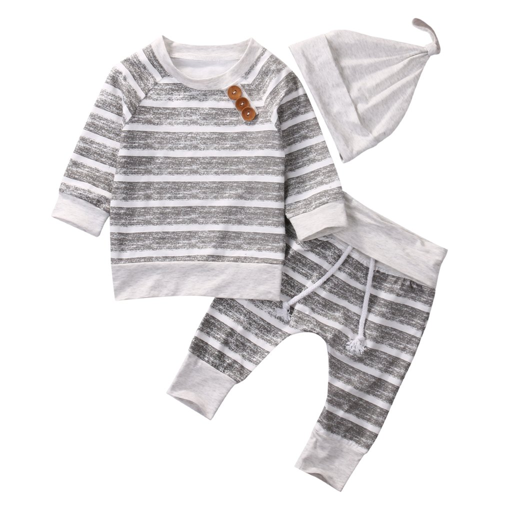 bafaceed136 Newborn Unisex Baby 3 Pcs Clothing Set with T-shirt + Trousers + Hat ...