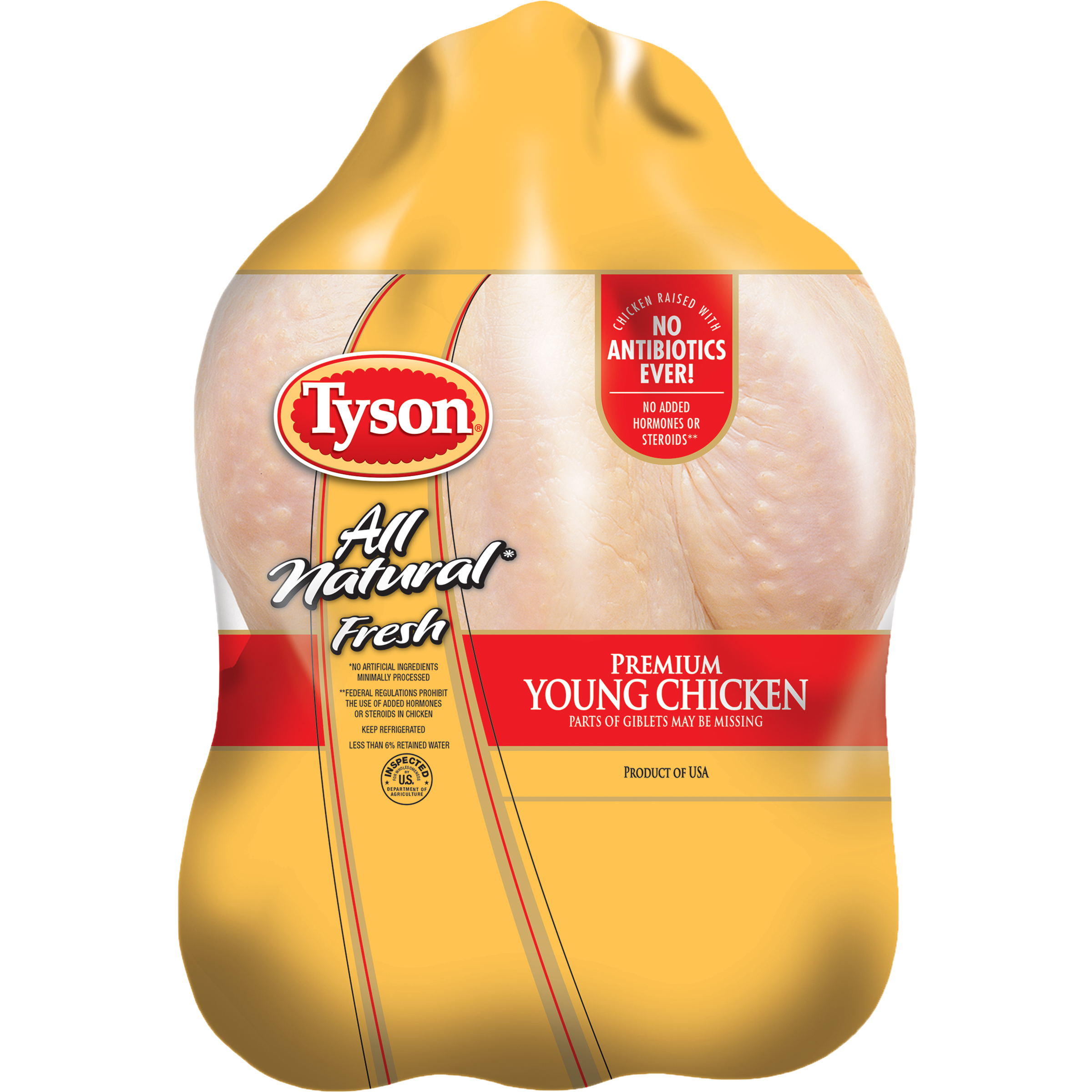 Tyson® All Natural <mark>Fresh</mark> Premium Young Chicken, 5.0-6.5 lbs