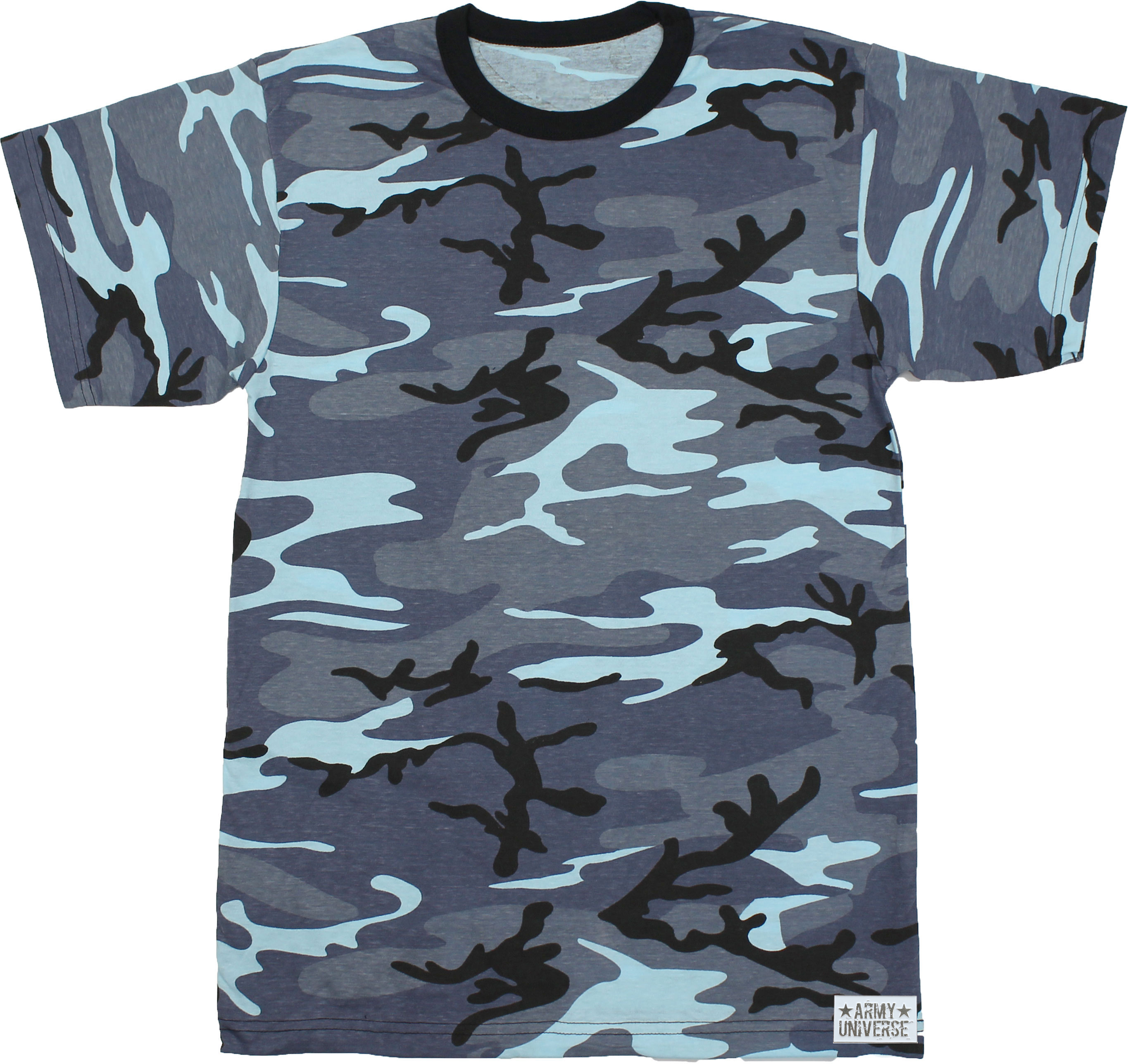 Army Universe - Blue Camouflage Short Sleeve T-Shirt with ARMY UNIVERSE Pin  - Size Small (33