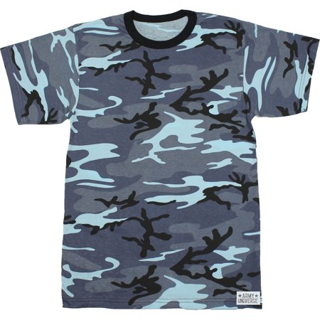 Army Universe - Blue Camouflage Short Sleeve T-Shirt with ARMY UNIVERSE Pin  - Size X-Large (45