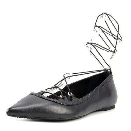 Michael Michael Kors Tabby Flat Women  Pointed Toe Leather Black Flats (Flats Michael Kors)