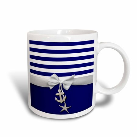 3dRose Nautical navy blue and white stripes - 2D ribbon bow graphic and printed anchor and starfish charms, Ceramic Mug, - Mug Charm