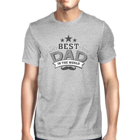 Best Dad In The World Mens Grey T-Shirt Unique Design Tee For (Best Class T Shirt Design)