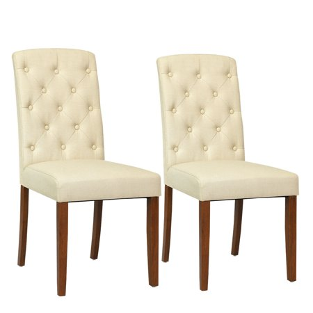 Costway Set of 2 Linen Fabric Wood Accent Dining Chair Tufted Modern Living Room Beige ()