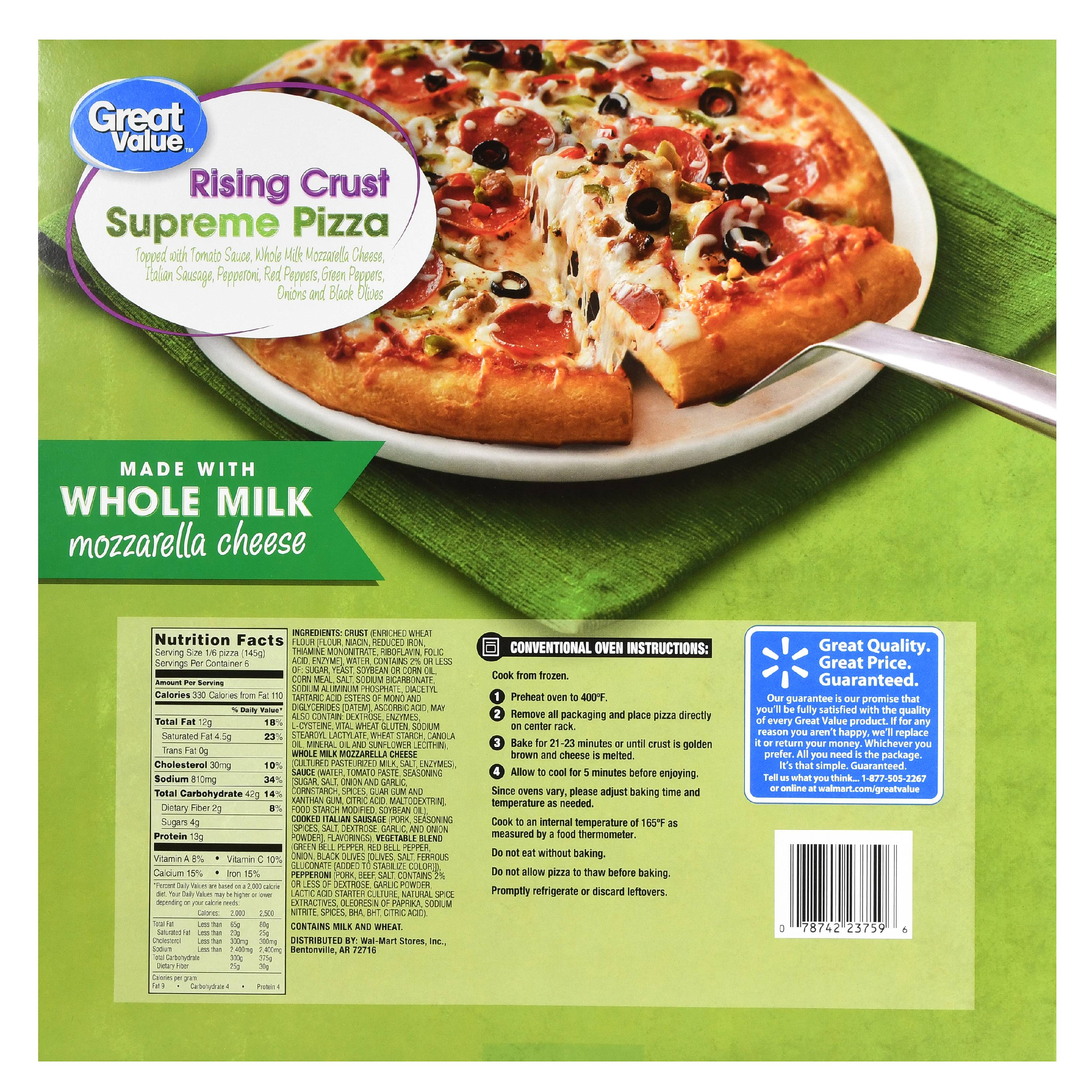 Great Value Frozen Rising Crust Supreme Pizza, 30.7 oz - Walmart.com