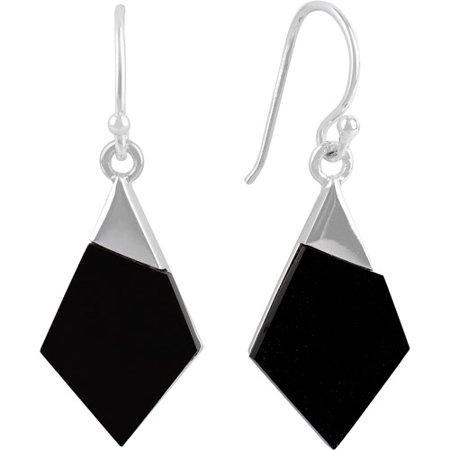 Agate Antique Earrings (Black Agate Sterling Silver Kite-Shaped Drop Earrings)