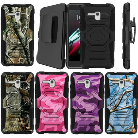 Alcatel One Touch Fierce XL 5054N Holster Case [Camo Case][Camouflage Design Series] w/ Built-In Kickstand + Bonus Holster - Plain Black /No Design