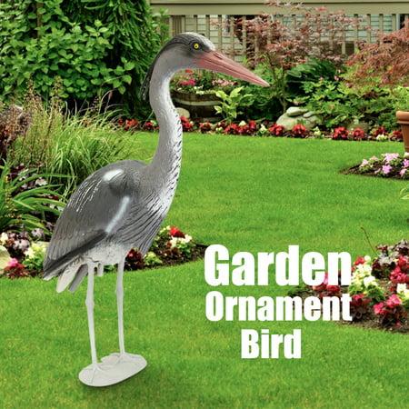 Large Plastic Garden yardart Ornament Bird Resin Decoy Heron Scarer Fish Pond Koi Carp ()