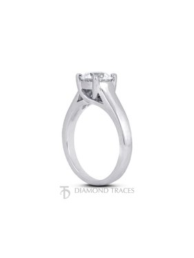 0.20ct F-SI1 Ideal Round Natural Diamond 14k Gold Trellis Solitaire Ring 2.68mm
