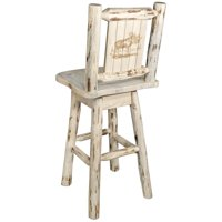 Montana Woodworks Montana 24 in. Engraved Swivel Counter Stool